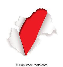 explodir, buraco, papel, vermelho