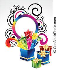 explodir, caixa, abstratos, magia, coloridos