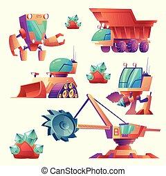 exploitation minière, étranger, vecteur, machinerie, planètes, dessin animé