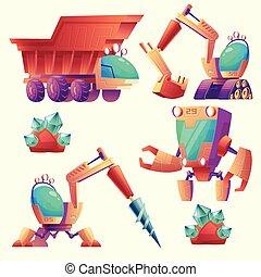 exploitation minière, autre, vecteur, machinerie, planètes, dessin animé