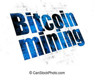exploitation minière, bitcoin, cryptocurrency, fond, numérique, concept: