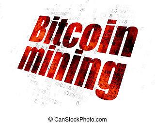 exploitation minière, blockchain, bitcoin, fond, numérique, concept: