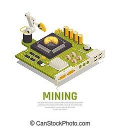 exploitation minière, blockchain, isométrique, fond