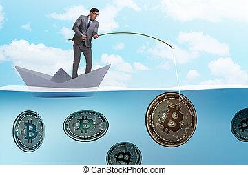 exploitation minière, concept, bitcoins, cryptocurrency,...