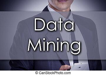 exploitation minière, concept, business, texte, -, jeune, homme affaires, données