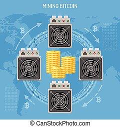 exploitation minière, concept, crypto, bitcoin
