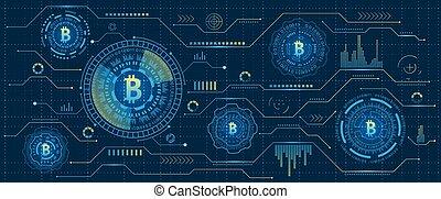 exploitation minière, cryptography, stream., numérique, argent., bitcoin, blockchain., cryptocurrency, futuriste