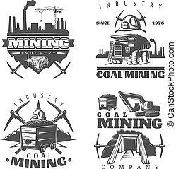 exploitation minière, ensemble, emblème, conceptions
