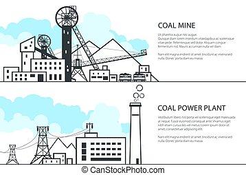 exploitation minière, ensemble, puissance, charbon, station, bannières