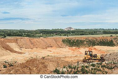 exploitation minière, fonctionnement, fosse, machine, charbon, ouvert