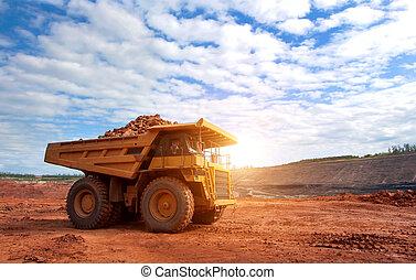 exploitation minière, grand, Travail,  site, jaune, camion