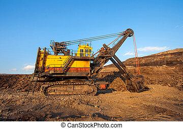 exploitation minière, grand, Travail,  site, jaune,  coa,  coal-preparation, camion, plante