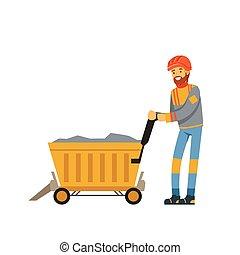 exploitation minière, mâle, travail, chariot, ouvrier, industrie, mineur, illustration, uniforme, charbon, vecteur, transport, professionnel, minerai