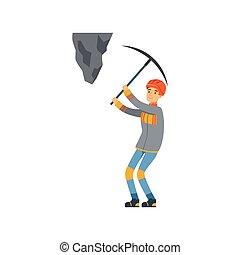 exploitation minière, mâle, travail, fonctionnement, industrie, mineur, mine, illustration, uniforme, charbon, vecteur, professionnel, pic