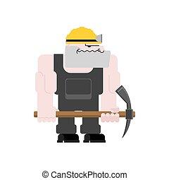 exploitation minière, mining., fonctionnement, isolated., ouvrier, travail, mineur, illustration, mine., charbon, vecteur, collier, pickaxe., pitman