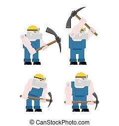 exploitation minière, mining., fonctionnement, ouvrier, set., travail, mineur, illustration, mine., charbon, vecteur, collier, pickaxe., pitman