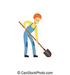 exploitation minière, pelle, fonctionnement, industrie, mineur, illustration, uniforme, charbon, vecteur, professionnel, travail, mâle