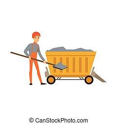 exploitation minière, pelle, fonctionnement, industrie, mineur, mine, illustration, charbon, vecteur, professionnel, brouette, travail, mâle