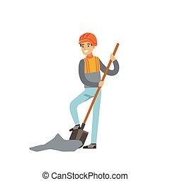 exploitation minière, pelle, industrie, mineur, illustration, uniforme, charbon, vecteur, creuser, professionnel, travail, mâle