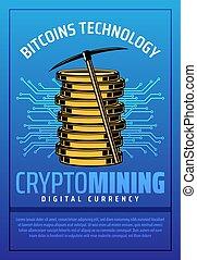 exploitation minière, pièces, bitcoin, crypto