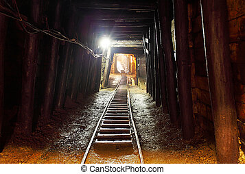 exploitation minière, piste, -, mine, chemin fer souterrain