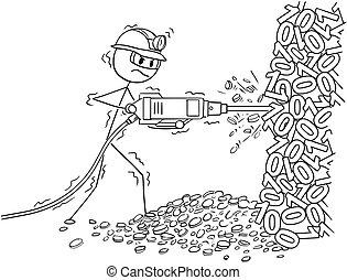 exploitation minière, pneumatique, cryptocurrency, foret, dessin animé, homme