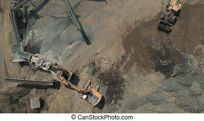 exploitation minière, quarry., sable, fonctionnement,...