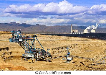 exploitation minière, spatial, machines., vue