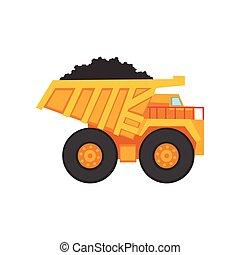exploitation minière, transport, décharge, camion charbon, dessin animé