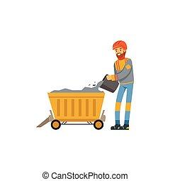 exploitation minière, travail, fonctionnement, chariot, industrie, mineur, mine, illustration, uniforme, charbon, vecteur, professionnel, mâle