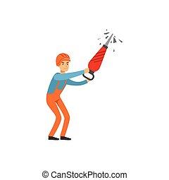 exploitation minière, travail, fonctionnement, industrie, mineur, illustration, uniforme, charbon, vecteur, professionnel, mâle, marteau-piqueur