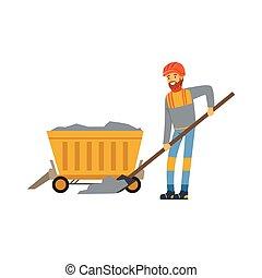 exploitation minière, travail, fonctionnement, industrie, mineur, mine, illustration, uniforme, charbon, vecteur, brouette, professionnel, mâle