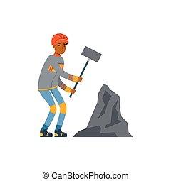 exploitation minière, travail, marteau, fonctionnement, industrie, mineur, illustration, uniforme, charbon, vecteur, professionnel, mâle