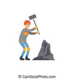 exploitation minière, travail, marteau, fonctionnement, industrie, mineur, mine, illustration, uniforme, charbon, vecteur, professionnel, mâle