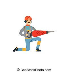 exploitation minière, travail, mineur, ouvrier industrie, illustration, uniforme, charbon, vecteur, tenue, professionnel, mâle, marteau-piqueur
