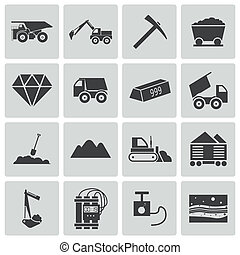 exploitation minière, vecteur, noir, ensemble, icônes