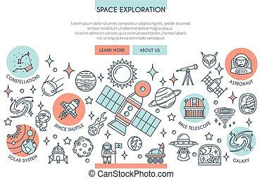 exploração, bandeira, espaço