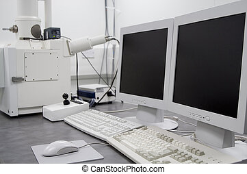 exploração, microscópio, elétron