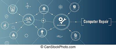 exploração, reparar, -, cabeçalho, computador, ferramentas, tecnologia, informação, uso, bandeira, quando, sistemas, manutenção, internet, engrenagem, reparos, grande, teia, técnico, dados, ícone, chave, w, segurança, ou