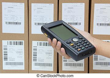 exploración, cajas, barcode, explorador