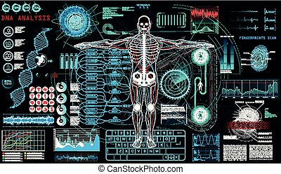 exploración, cyborg, ui., human-robot, hud, concepto