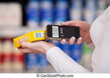 exploración, mujer, móvil, barcode, supermercado, teléfono, manos