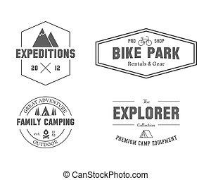 explorador, ao ar livre, família, jogo, logotipo, etiqueta, style., melhor, outdoor., hiking, isolado, viagem, experiência., branca, templates., emblema, locais, aventura biking, acampamento, revista, vetorial, etc., viagem