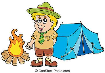 explorador, con, tienda, y, fuego