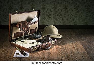explorador, embalaje, para, un, viaje