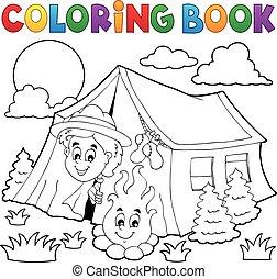 explorador, libro colorear, acampar tienda