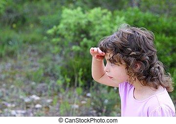 explorador, menininha, floresta, parque, procurar