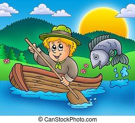 explorador, niño, en, barco