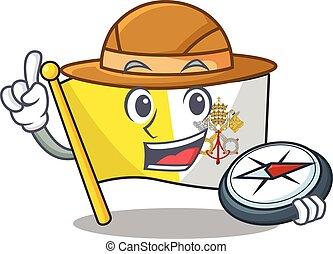 explorador, scroll, compasso, cidade do vaticano, stylized, bandeira