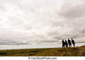 exploradores, explorar, isla, grupo, niño